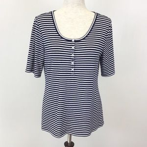 J Crew Navy Blue White Striped Ribbed Henley Shirt